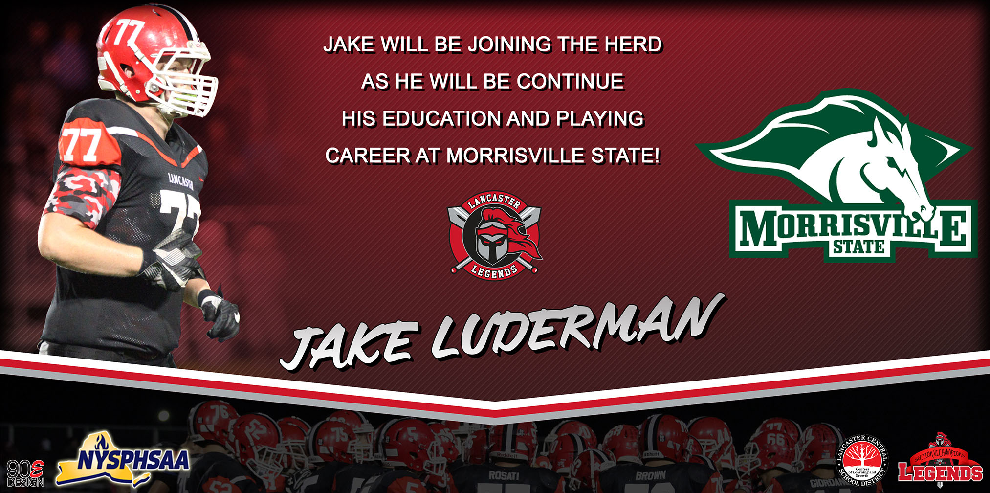 Lancaster Football Jake Luderman on his way to Morrisville State College